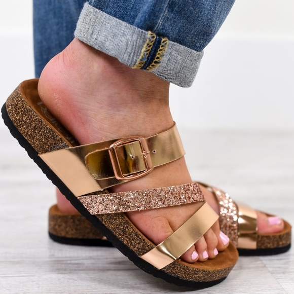 96232a6472b ladies Street Livin  Rose Gold strappy Sandals